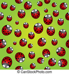 Vector abstract background seamless pattern with ladybugs