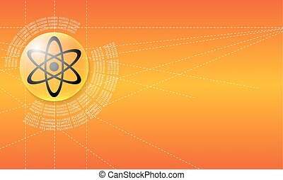 Vector abstract background with a circular binary code and science symbol