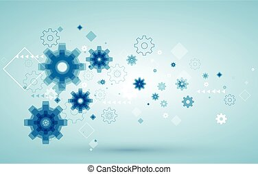 Vector abstract background with blue cogwheels.