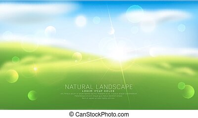 Vector abstract background with blur. Green grass, sky, clouds, sun. Template for modern design, advertising.
