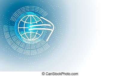 Vector abstract background with circular binary code and globe
