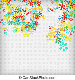 vector abstract background with flowers and gray squares