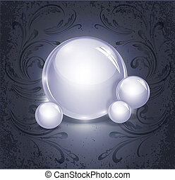 vector abstract background with glowing, glass balls on a vintage, grunge background with a pattern