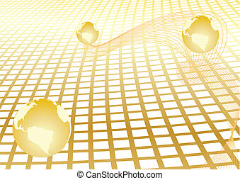 Vector abstract background with gold globe