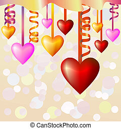 vector abstract background with hearts and ribbons