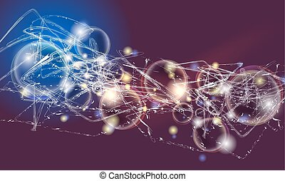 Vector abstract background with lights; lines and abstract bubbles
