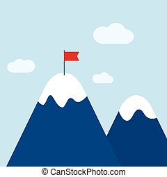 Vector abstract background with mountains and a red flag at the peak. The concept of overcoming difficulties to achieve winning results. Achieving the goal.