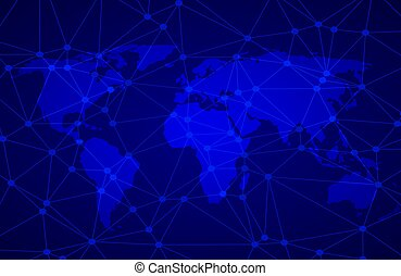 Vector abstract background with net, world map design for ...