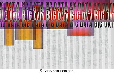 Vector abstract background with stripes and colored objects and big data headline