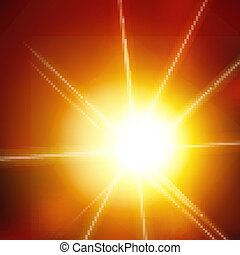 Vector abstract background with sun and lens flares. orange...