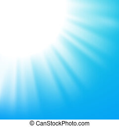 Vector abstract background with sun on blue sky