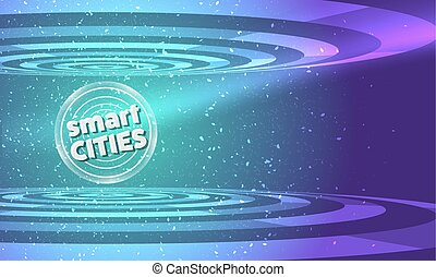 Vector abstract background with transparent circular objects and icon of smart cities