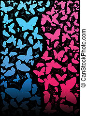 background with tropical butterflie