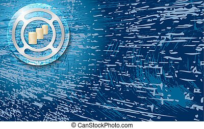 Vector abstract background with scratches and coin
