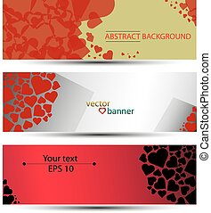 Vector abstract banner, background, headline with hearts