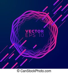Vector abstract banner, moving shapes in frame