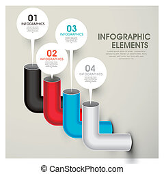 abstract bar chart pipes infographic elements - vector...