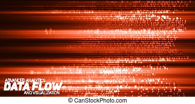 Vector abstract big data visualization. Red flow of data as numbers strings. Information code representation. Cryptographic analysis. Bitcoin, blockchain transfer. Stream of encoded data.