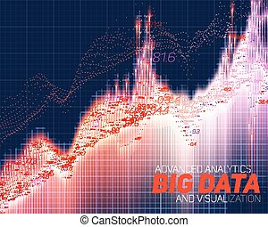 Vector abstract big data visualization. Futuristic infographics aesthetic design. Visual information complexity. Intricate data threads graphic. Social network or business analytics representation.