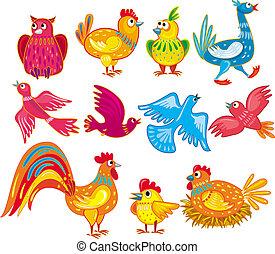vector abstract birds set
