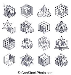 Vector abstract black and white backgrounds set created in isometric mesh lines style. Mechanical scheme, vector engineering drawing with cube and mechanism parts. Perfect background for your designs