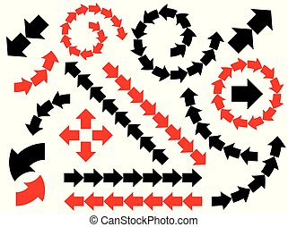 Vector abstract black arrows set. Collection icons