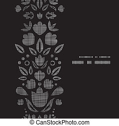Vector abstract black lace ornamental tulips textile vertical frame seamless pattern background