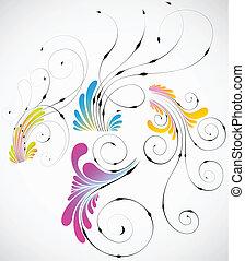 vector, abstract, bloemen, ontwerp, verzameling