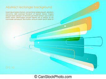 Vector abstract blue and orange background with perspective rectangle