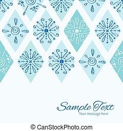 Vector abstract blue doodle rhombus horizontal border card template