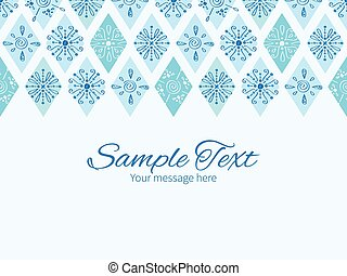 Vector abstract blue doodle rhombus horizontal border...