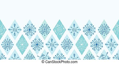Vector abstract blue doodle rhombus horizontal border seamless pattern background