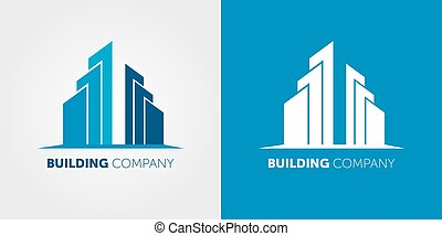 vector abstract blue icon, logo building silhouette isolated