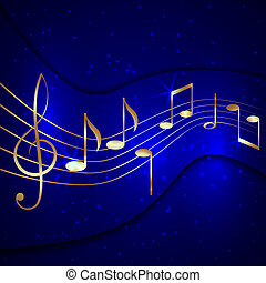 Vector abstract blue musical background with golden notes...