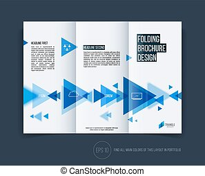 Vector abstract brochure flyer design, business cover template layout, report, magazine or booklet in A4 with blue moving triangular geometric shapes on white background.