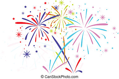 vector abstract anniversary bursting fireworks with stars and sparks on white background