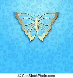Vector abstract butterfly on elegant flower background. Invitation card.