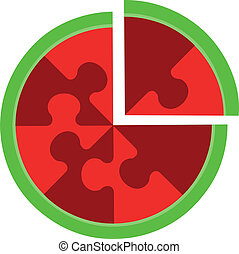 Abstract cherry puzzle in color