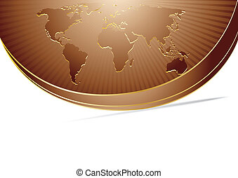 Vector abstract chocolate background with map; clip-art