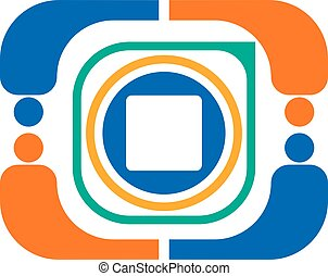 Vector abstract color logo from various geometric shapes of orange, green, blue, white in the form of an action camera on a white background