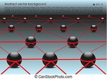 Vector abstract colorful background with 3d ball in red color