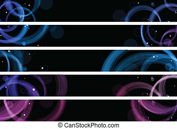 Abstract colorful circles web banners. Size 728x90 px