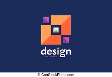 vector abstract colorful crystal triangles modern logo, icon isolated. Company identity