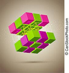 abstract colorful cube - vector abstract colorful cube
