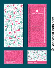 Vector abstract colorful drops vertical frame pattern invitation greeting, RSVP and thank you cards set