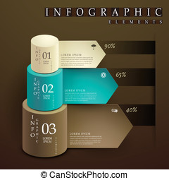 cylinder and paper label infographic elements
