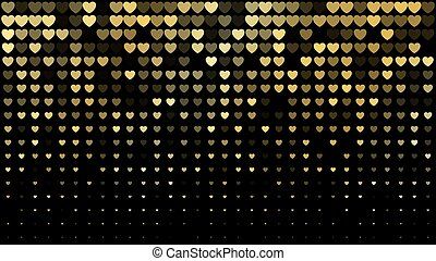 Vector abstract dark background with golden hearts