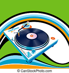 turntable and rainbow - vector abstract design, turntable...