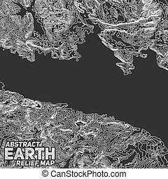 Vector abstract earth relief map.