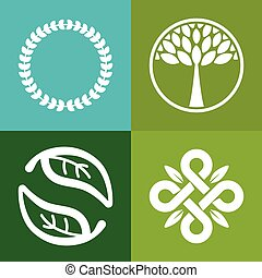 Vector abstract emblem - flower and tree symbols - concept...